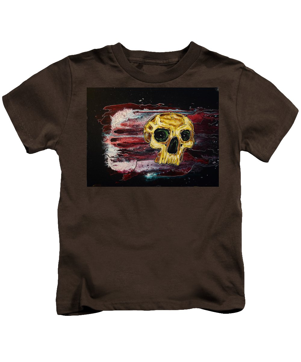 Skulls Kids T-Shirt featuring the painting Primordial Portraits 12 by David Buschemeyer
