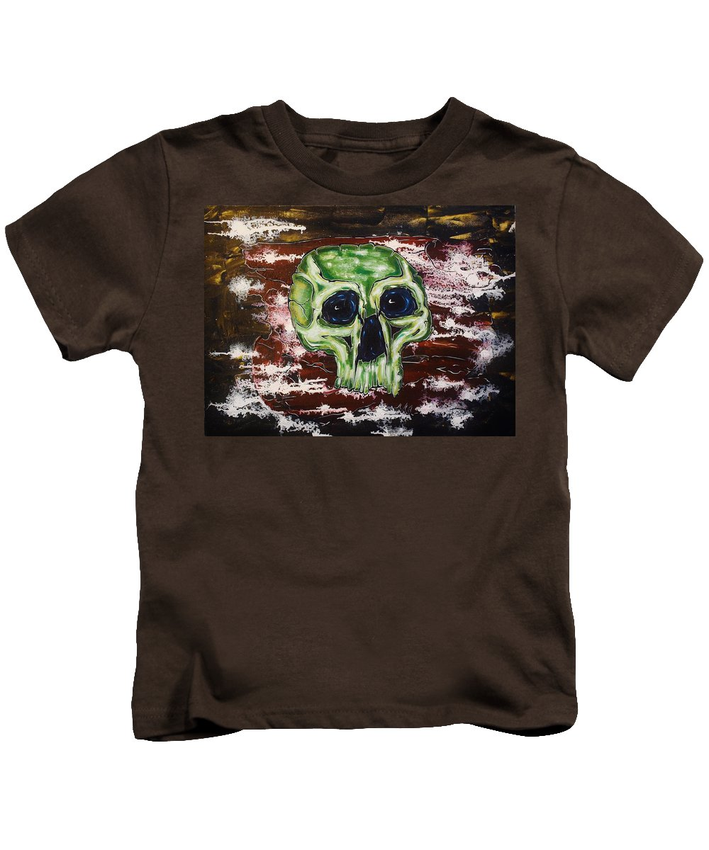 Skulls Kids T-Shirt featuring the painting Primordial Portraits 7 by David Buschemeyer