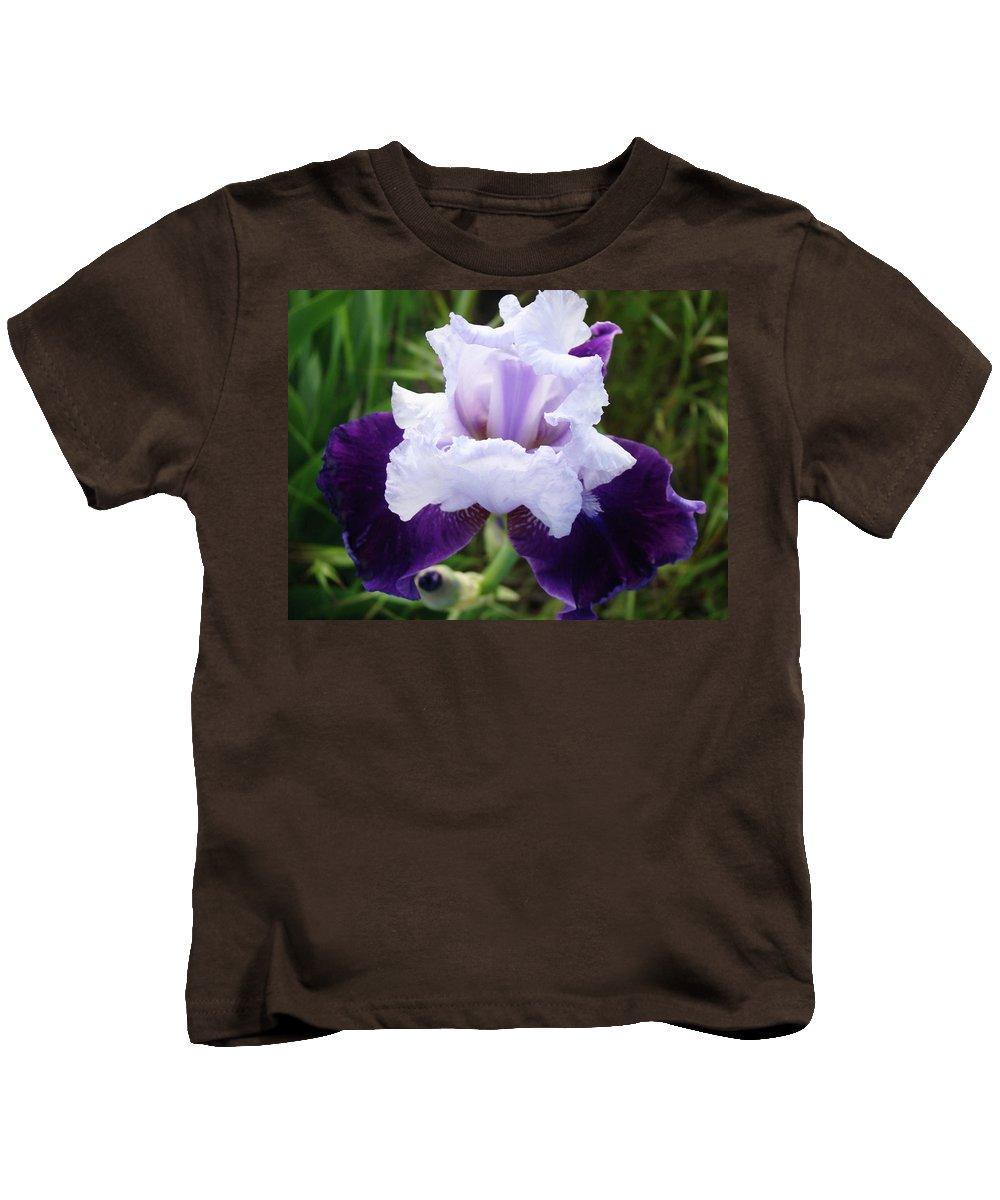 Iris Kids T-Shirt featuring the photograph Purple Iris Flower Art Prints Garden Floral Baslee Troutman by Baslee Troutman