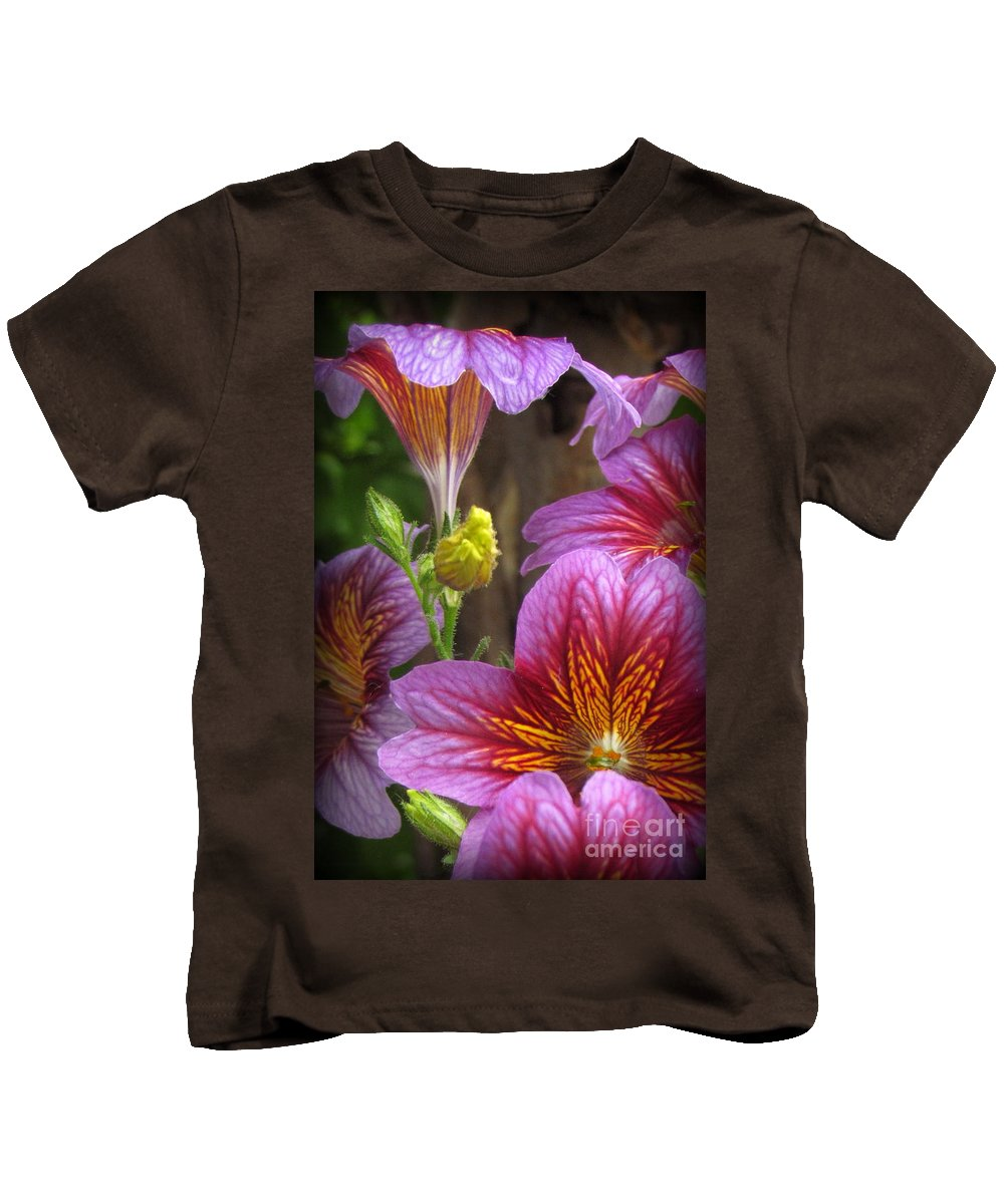 Purple Flowers Photographed In Montrose Kids T-Shirt featuring the photograph Purple Trumpets by Krista Carofano