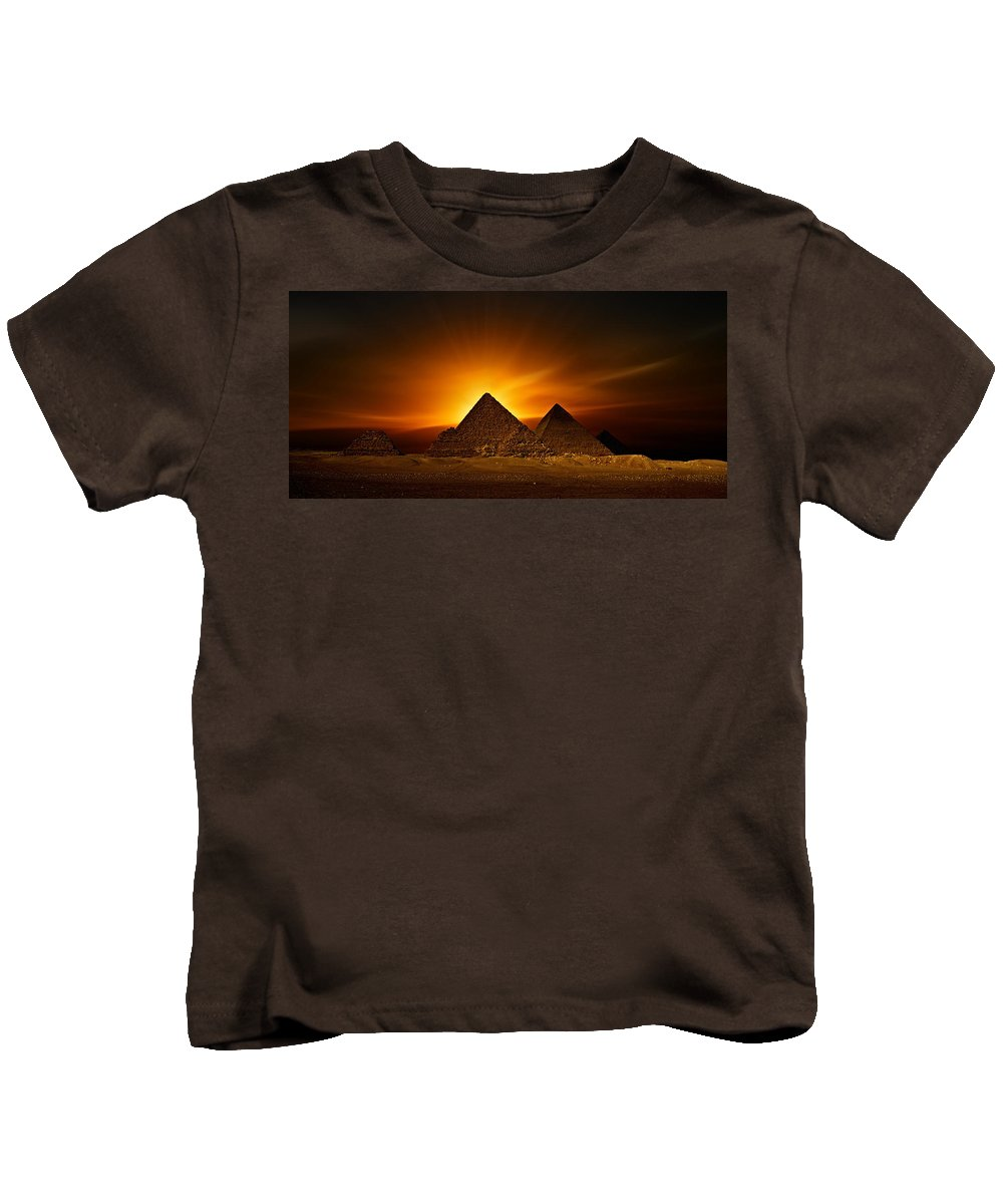 Sunset At The Pyramids Kids T-Shirt featuring the photograph Pyramids Sunset by Nasser Osman