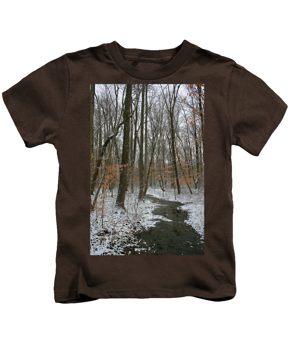 Forest Woods Water Winter Tree Snow Cold Season Nature Kids T-Shirt featuring the photograph Quite Path by Andrei Shliakhau