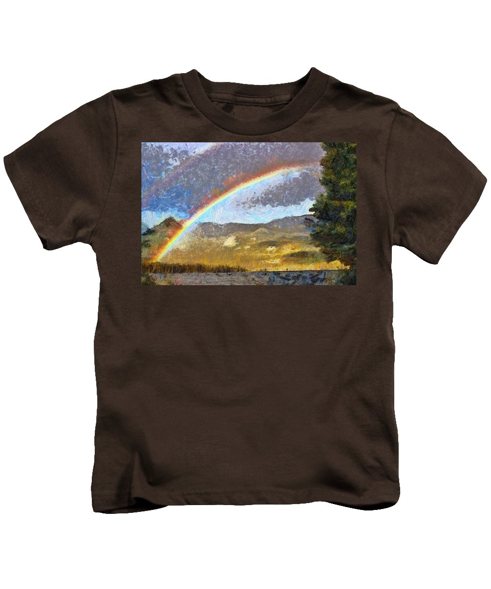 Arch Kids T-Shirt featuring the painting Rainbow - Id 16217-152046-6654 by S Lurk