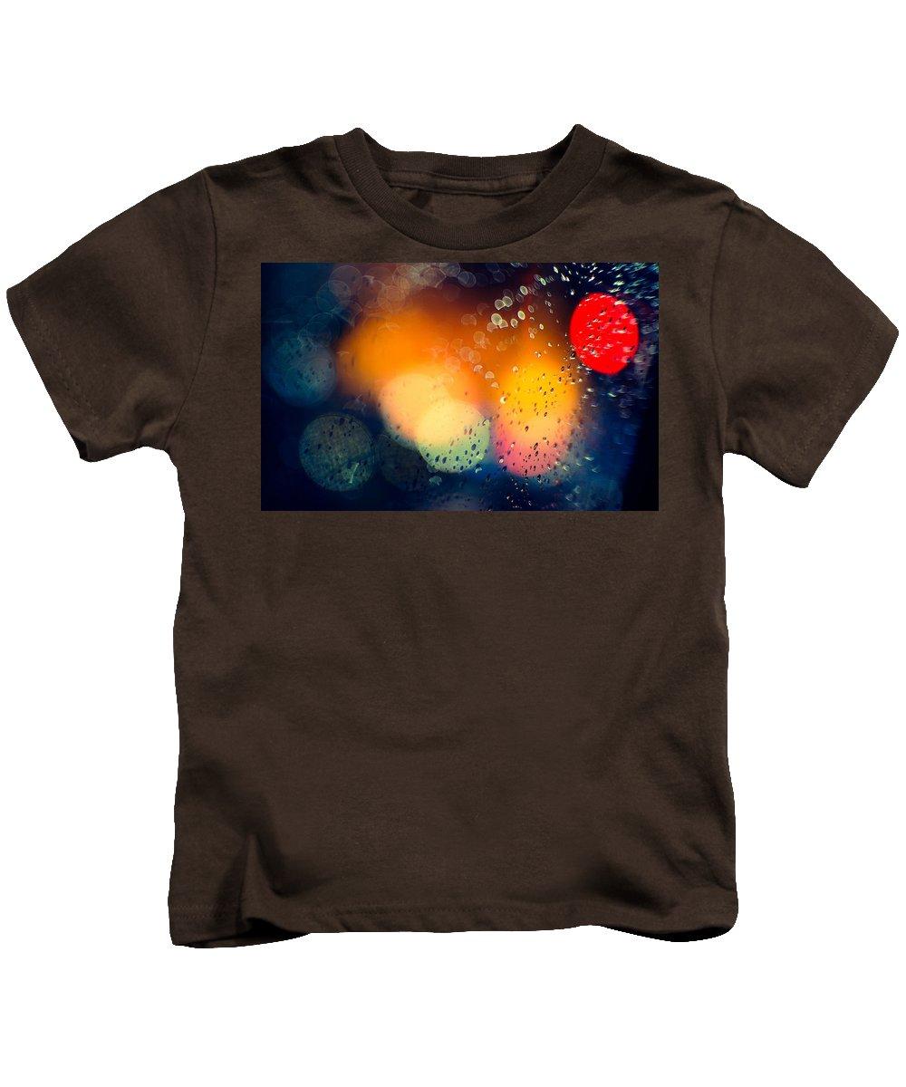 Raindrops Kids T-Shirt featuring the digital art Raindrops by Dorothy Binder