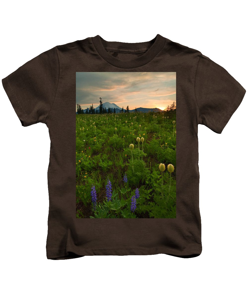 Meadow Kids T-Shirt featuring the photograph Rainier Wildflower Light by Mike Dawson