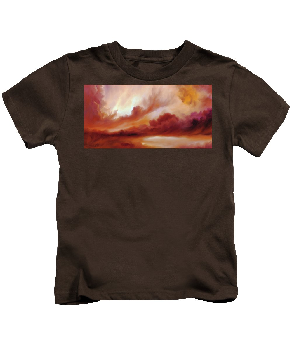 Skyscape Kids T-Shirt featuring the painting Receding Storm Sketch IIi by James Christopher Hill