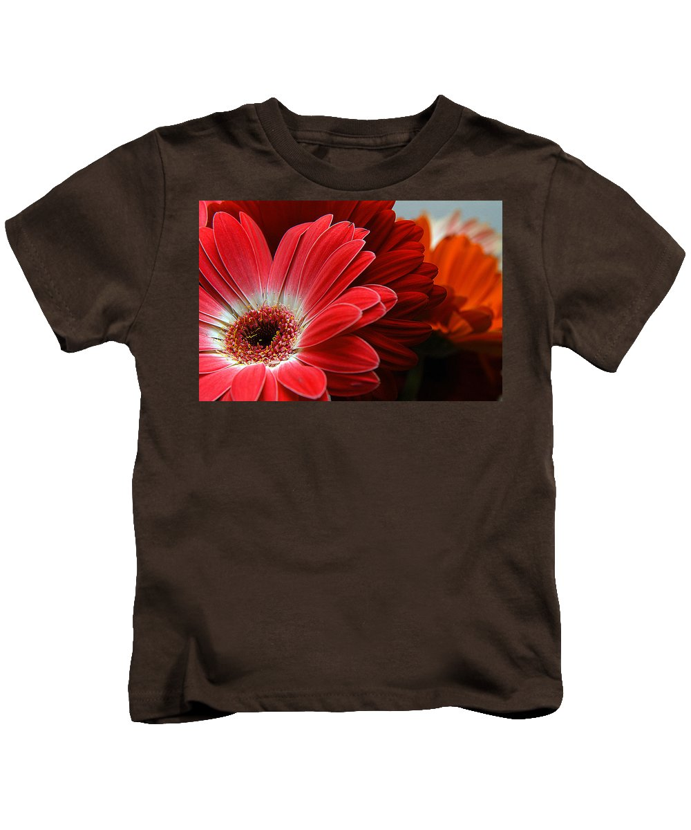 Clay Kids T-Shirt featuring the photograph Red And Orange Florals by Clayton Bruster
