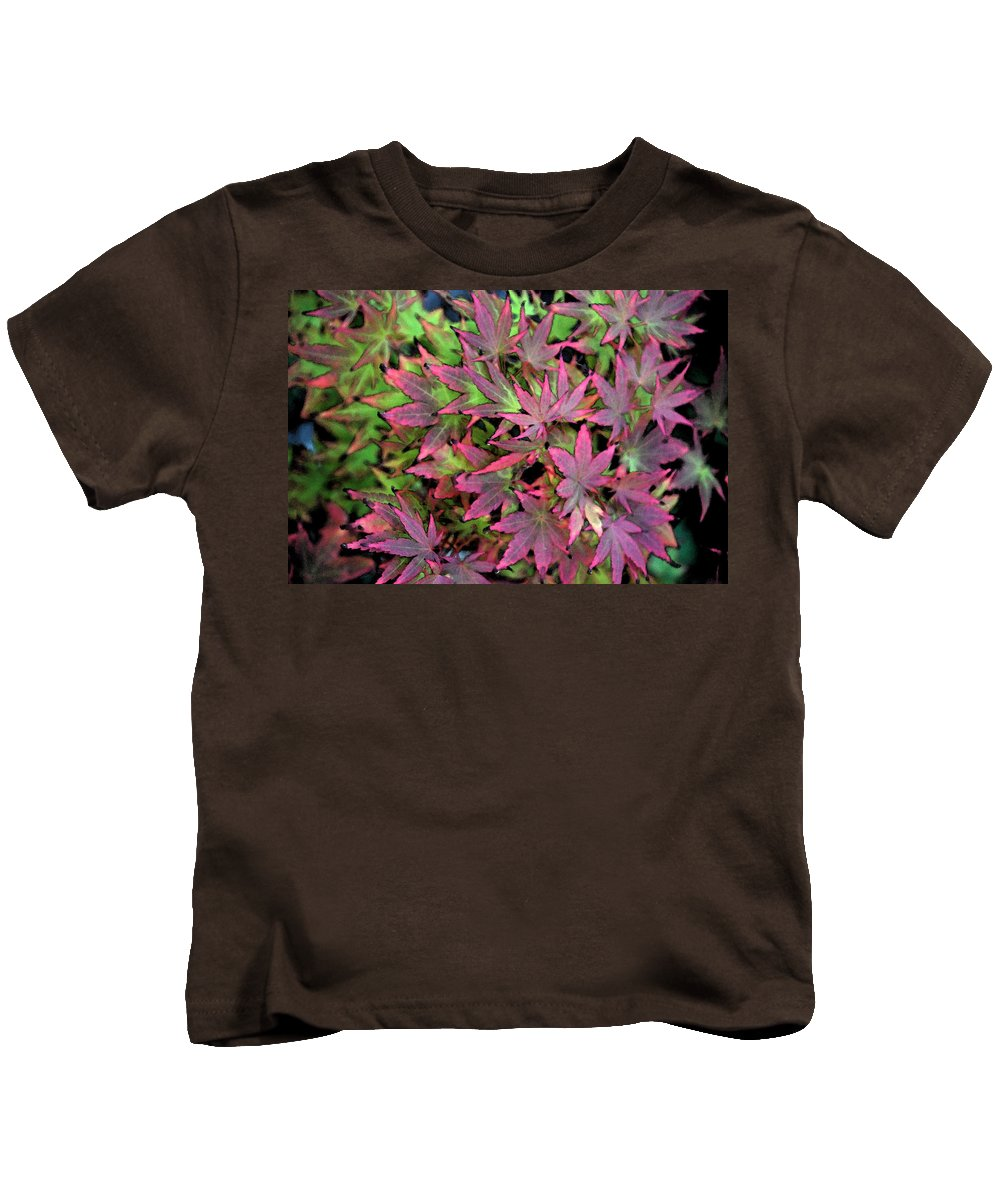 Garden Kids T-Shirt featuring the photograph Red Bark Maple Leaves by Carol Eliassen