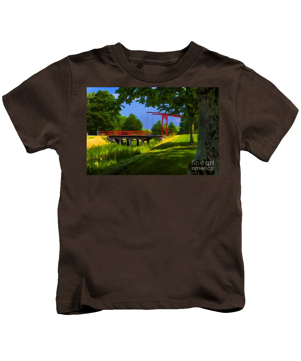 Sweden Parks Old Style Brisges Kids T-Shirt featuring the photograph Red Bridge by Rick Bragan