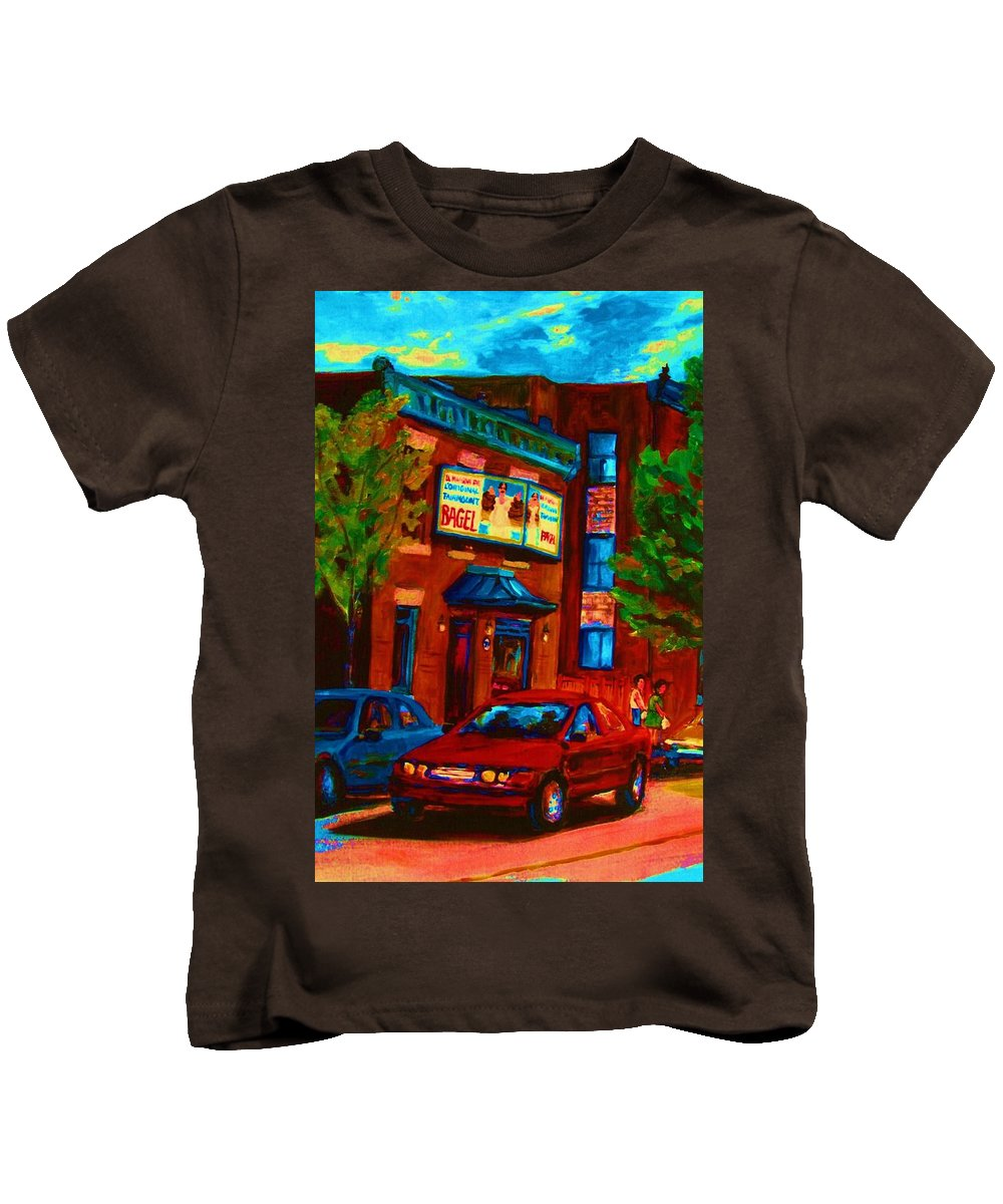 Fairmount Bagel Kids T-Shirt featuring the painting Red Car Blue Sky by Carole Spandau