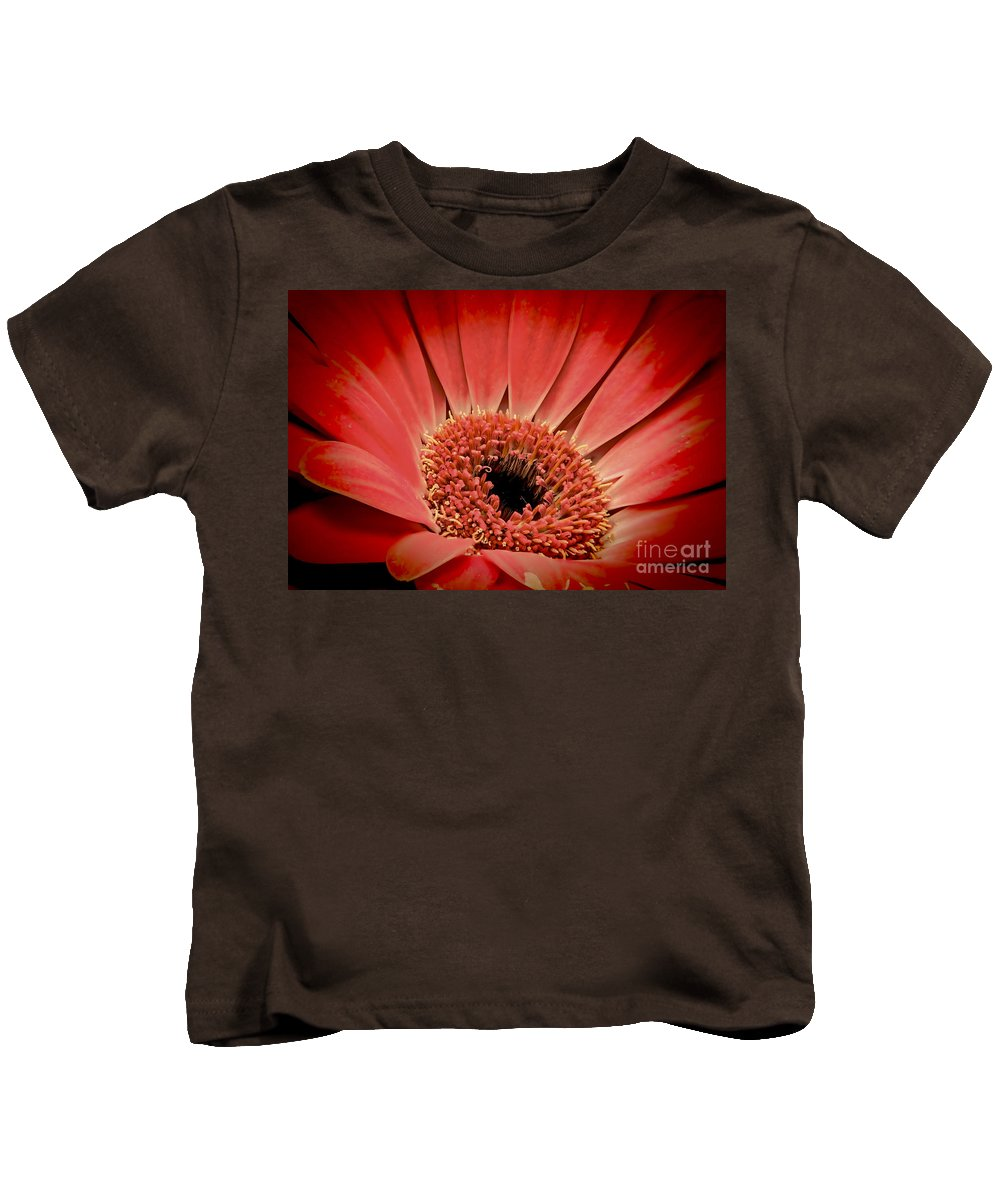 Daisy Kids T-Shirt featuring the photograph Red Daisy by Sebastien Coell