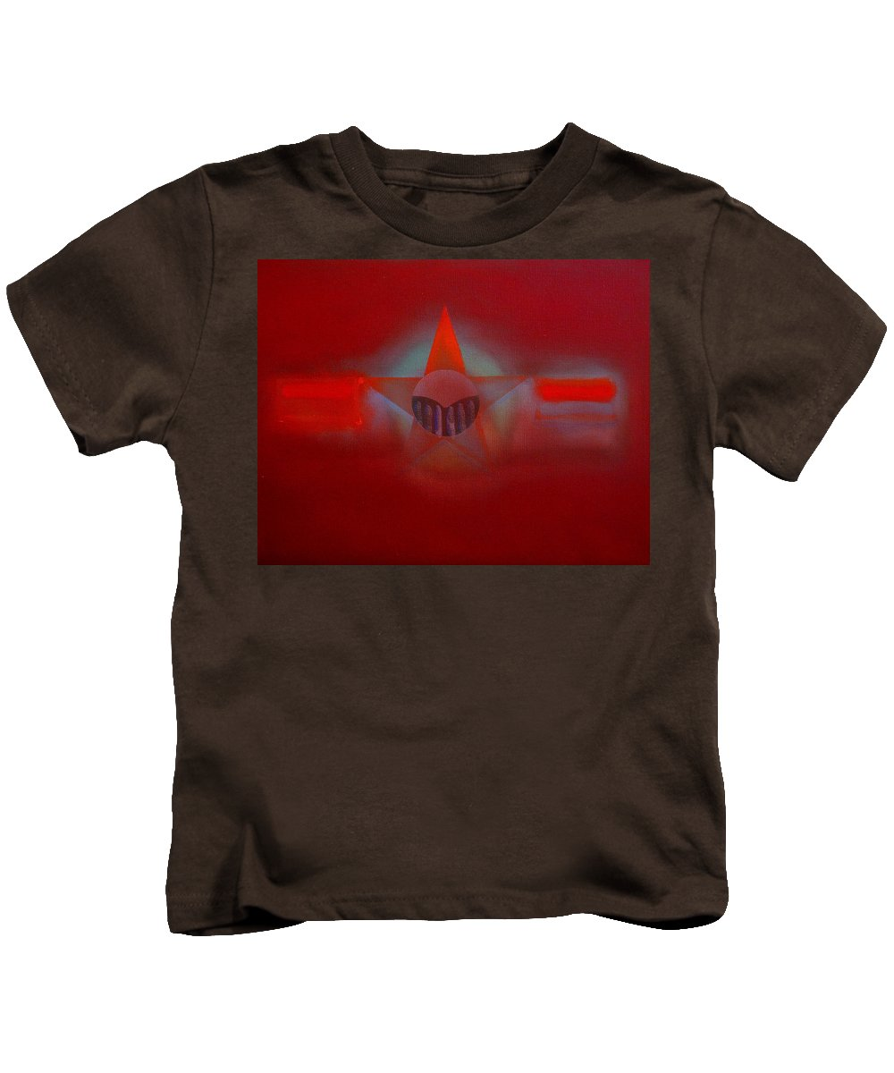 Usaaf Insignia And Idealised Landscape In Union Kids T-Shirt featuring the painting Red Dawn by Charles Stuart