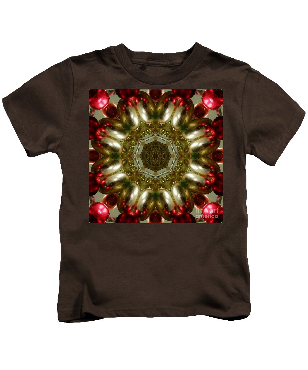 Kaleidoscope Kids T-Shirt featuring the digital art Red Gold Kaleidoscope 1 by Chandra Nyleen