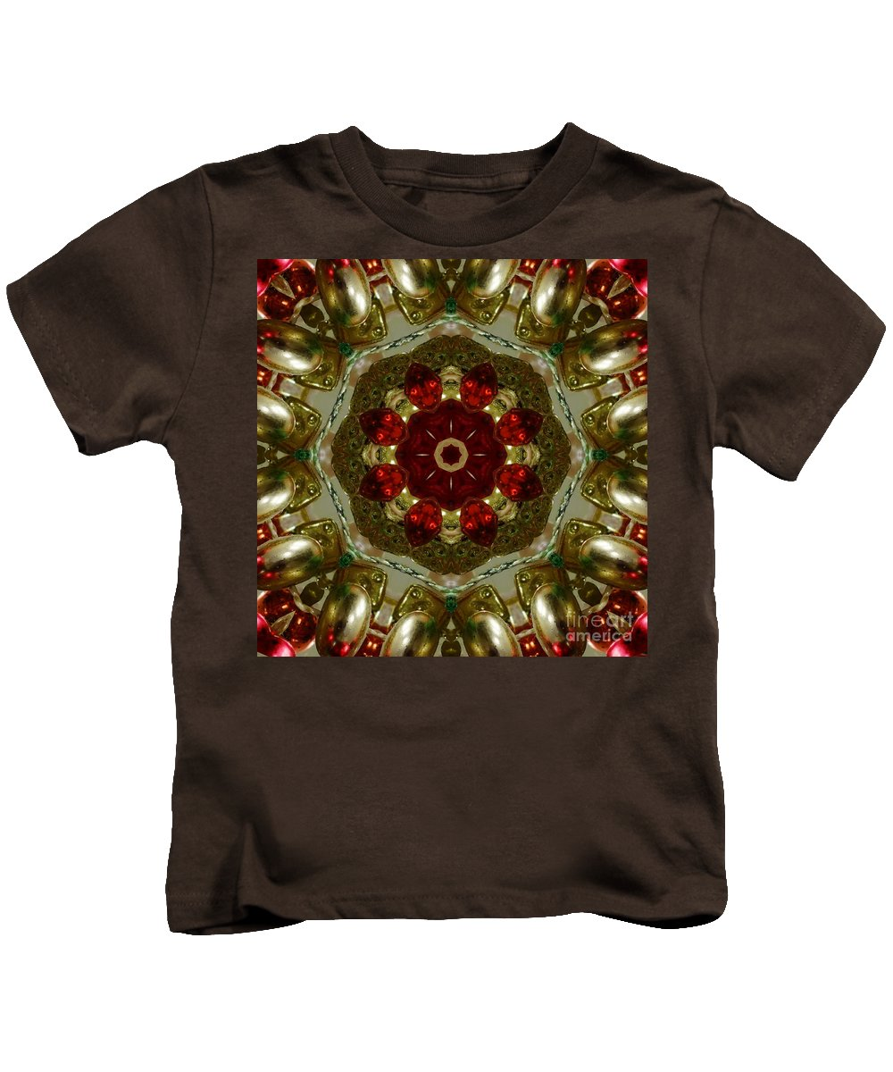 Red Kids T-Shirt featuring the digital art Red Gold Kaleidoscope 2 by Chandra Nyleen