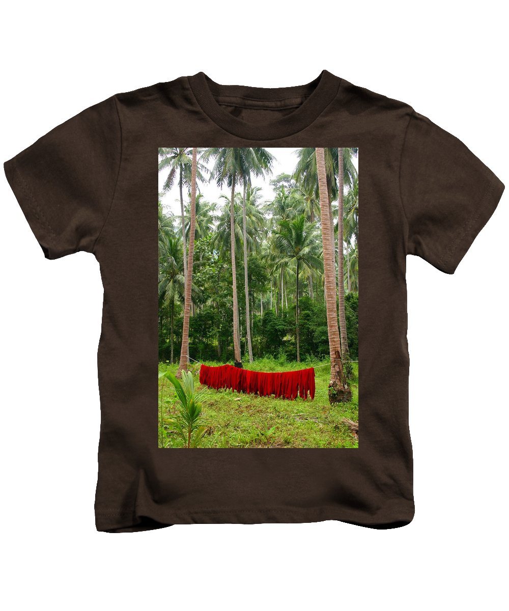 Palm Trees Kids T-Shirt featuring the photograph Red In The Jungle by Minaz Jantz