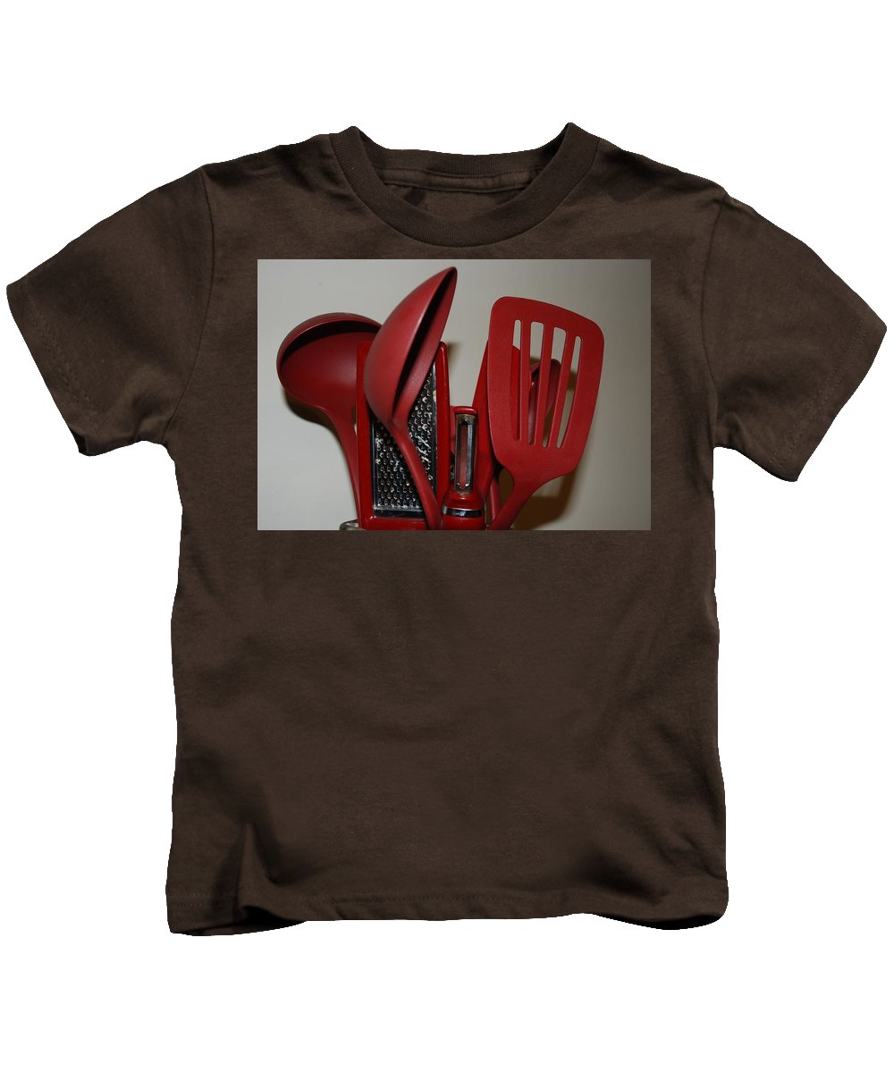 Utencils Kids T-Shirt featuring the photograph Red Kitchen Utencils by Rob Hans