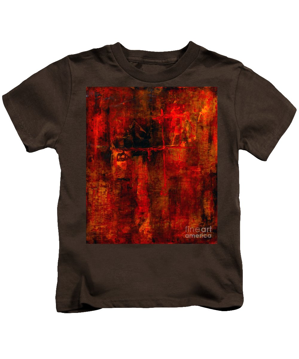 Abstract Painting Kids T-Shirt featuring the painting Red Odyssey by Pat Saunders-White