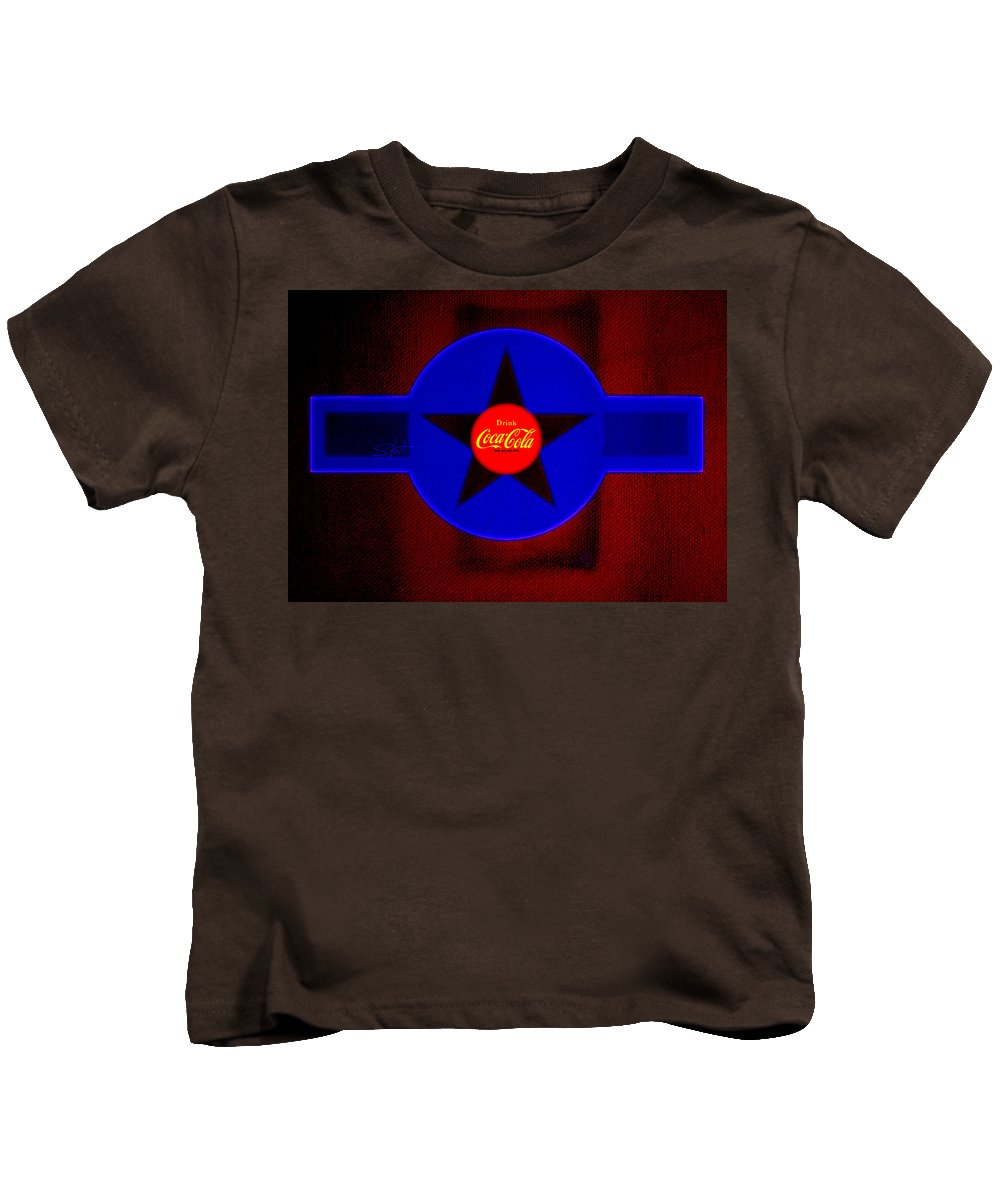 Label Kids T-Shirt featuring the painting Red On Red With Blue by Charles Stuart