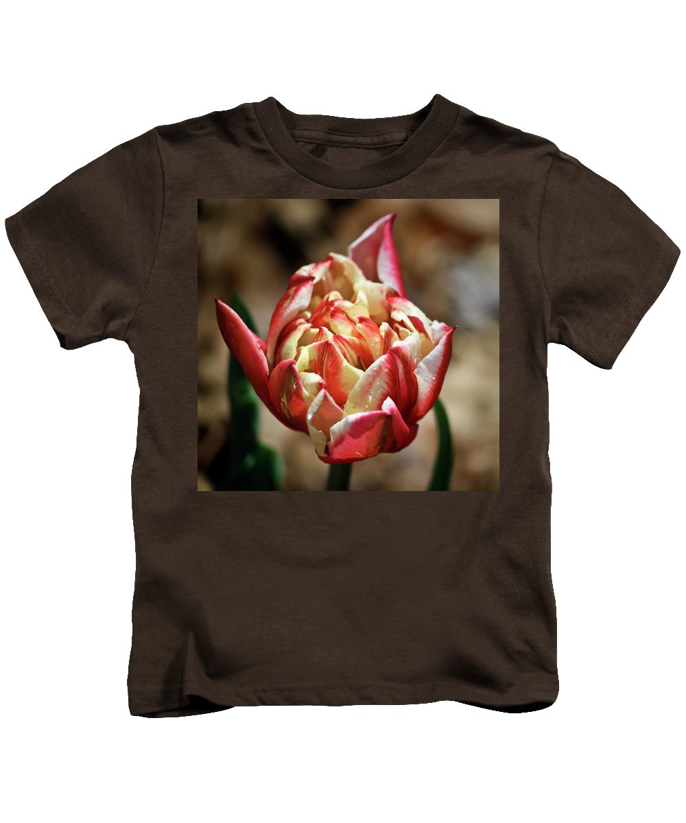 Red Kids T-Shirt featuring the photograph Red Peony Tulip by Teresa Mucha