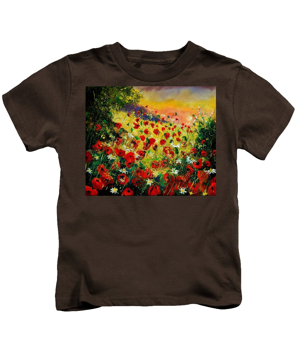 Tree Kids T-Shirt featuring the painting Red Poppies by Pol Ledent