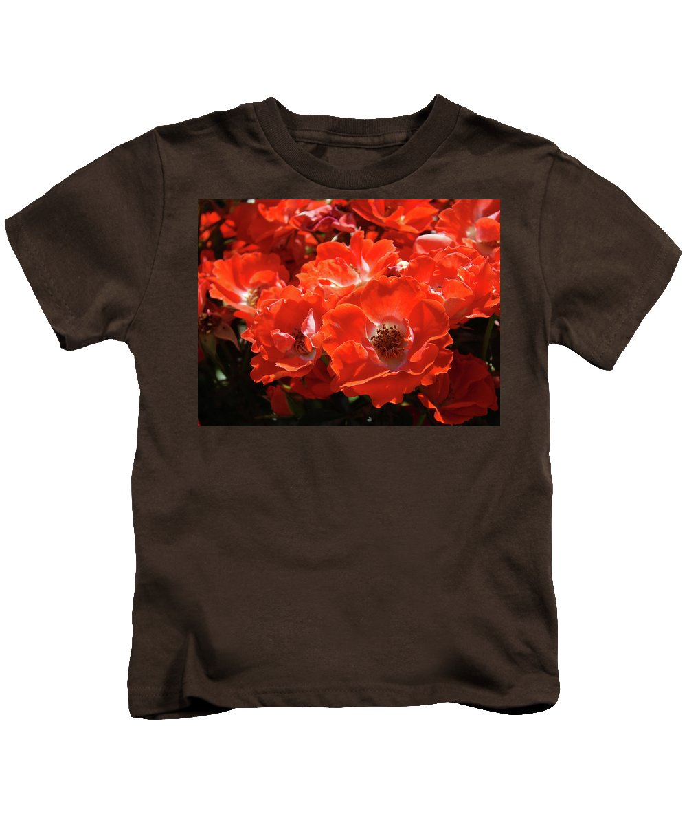 Rose Kids T-Shirt featuring the photograph Red Roses Botanical Landscape 1 Red Rose Giclee Prints Baslee Troutman by Baslee Troutman