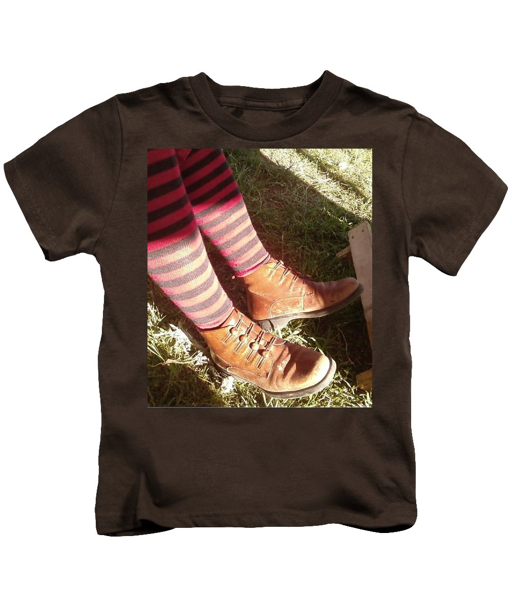 Stockings Red Witchy Boots Kids T-Shirt featuring the photograph Red Stockings by Cindy New