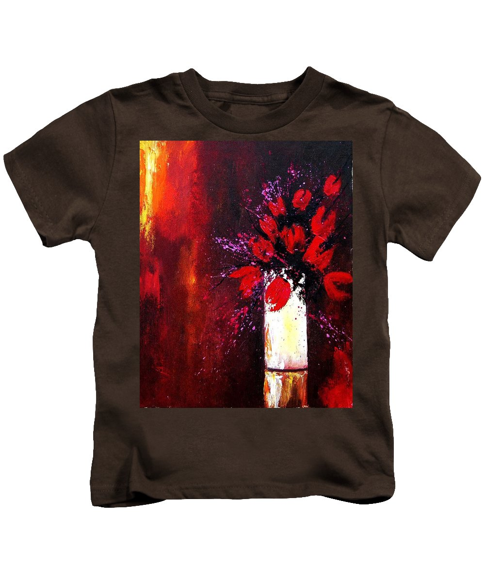 Flowers Kids T-Shirt featuring the painting Red Tulips by Pol Ledent