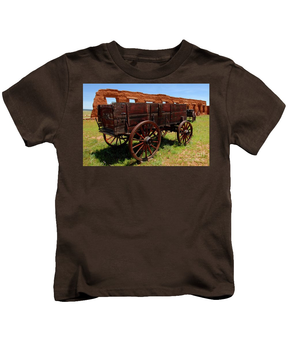 Fine Art Photography Kids T-Shirt featuring the photograph Red Wagon by David Lee Thompson