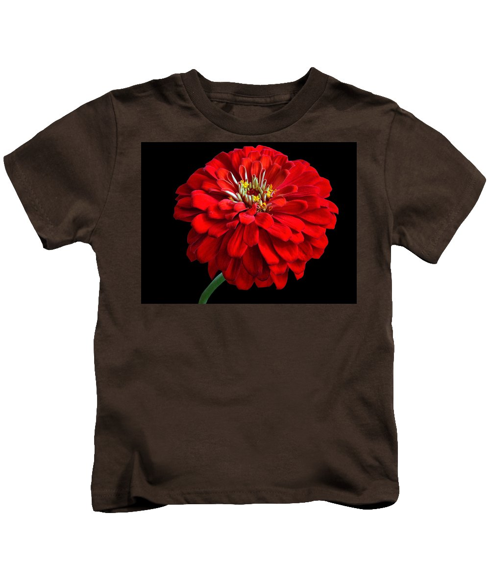 Flower Kids T-Shirt featuring the photograph Red Zinnia by Sandy Keeton