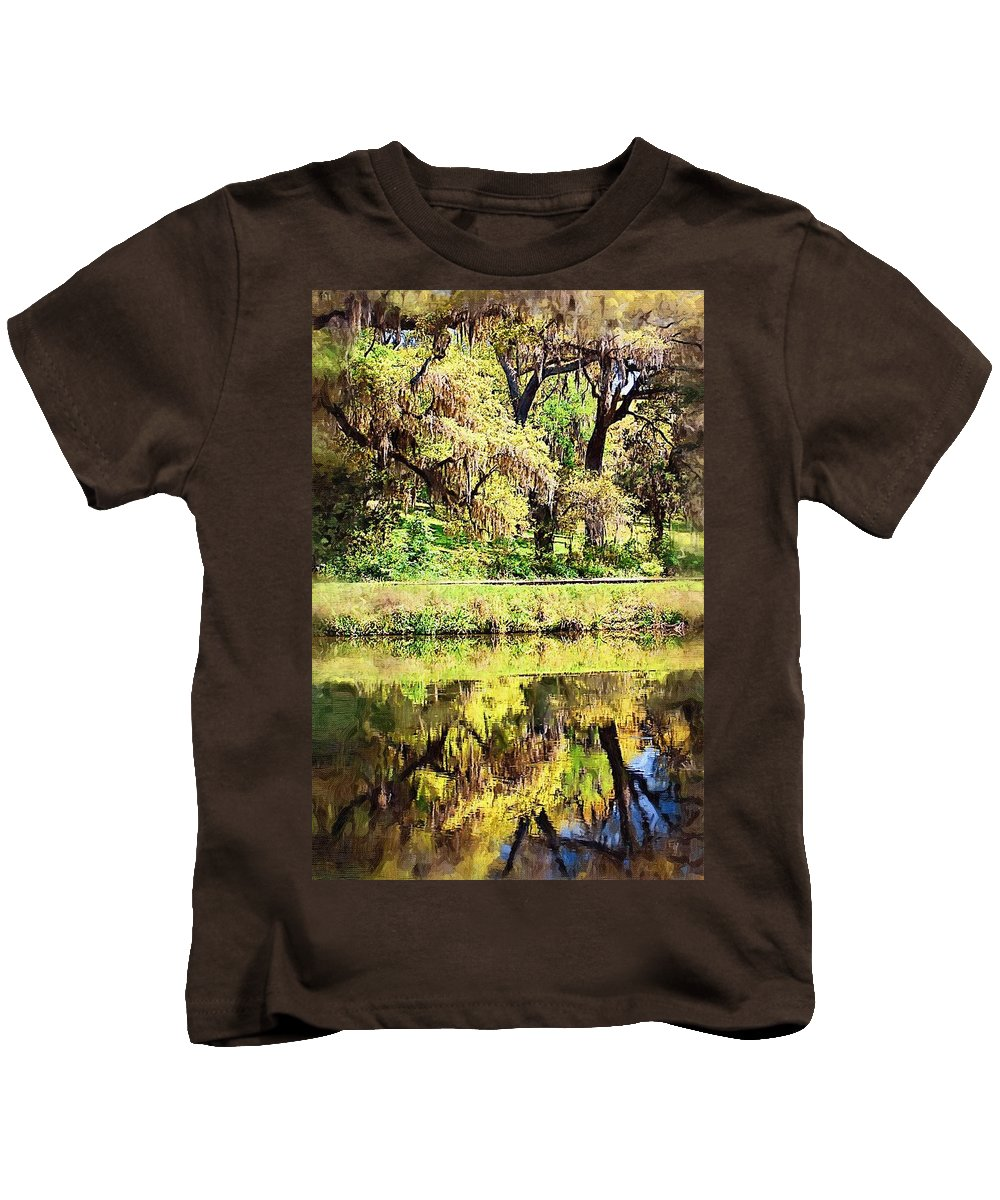 Landscape Kids T-Shirt featuring the photograph Reflective Live Oaks by Donna Bentley