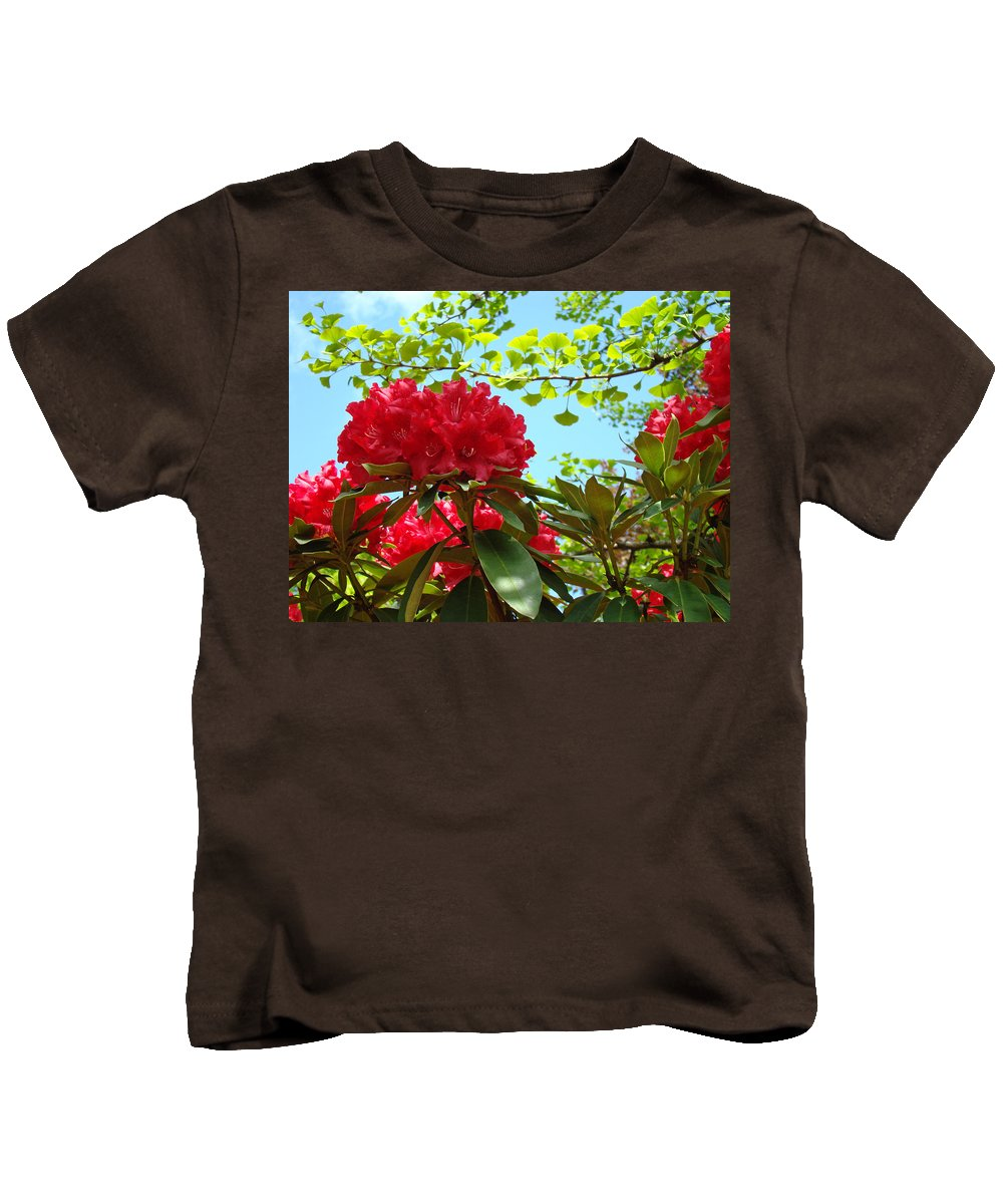 Rhodies Kids T-Shirt featuring the photograph Rhodies Art Prints Red Rhododendron Floral Garden Landscape Baslee by Baslee Troutman