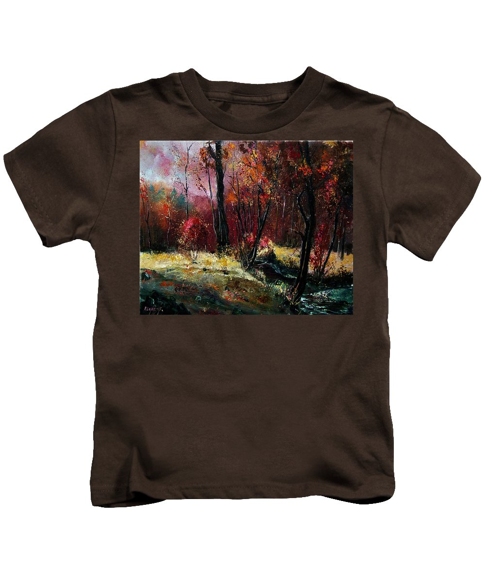 River Kids T-Shirt featuring the painting River Ywoigne by Pol Ledent