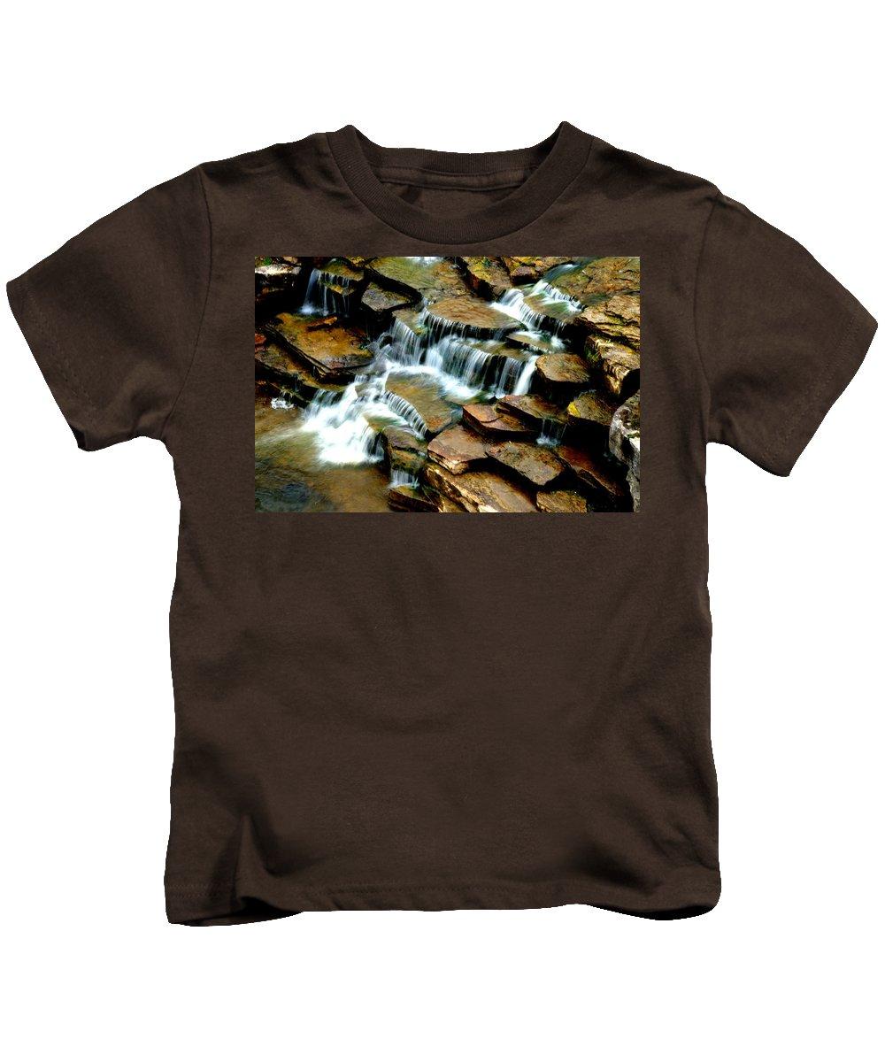 Michigan Kids T-Shirt featuring the photograph Riverside Place Falls by Daniel Thompson