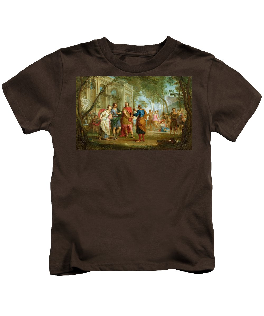 Roland Kids T-Shirt featuring the painting Roland Learns Of The Love Of Angelica And Medoro by Louis Galloche