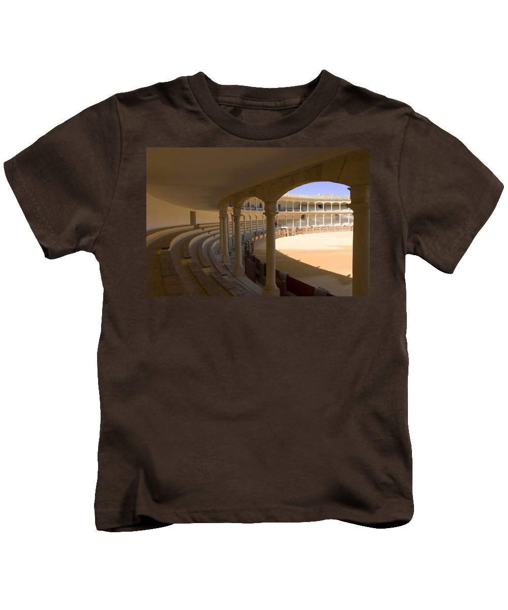 Bullfight Kids T-Shirt featuring the photograph Ronda Bullring The Real Maestranza De Caballeria by Mal Bray