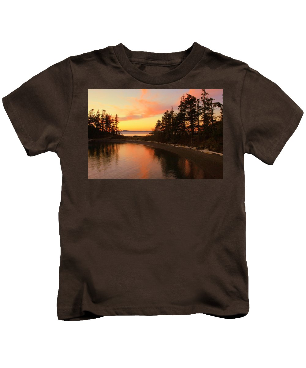 Sunset Kids T-Shirt featuring the photograph Rosario Beach Sunset by Randall Thomas Stone