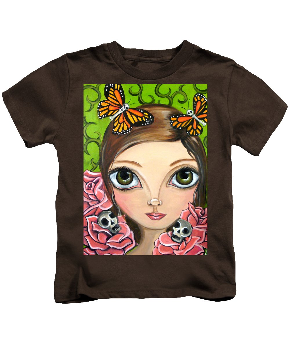 Big Kids T-Shirt featuring the painting Rose Amongst The Butterflies by Jaz Higgins