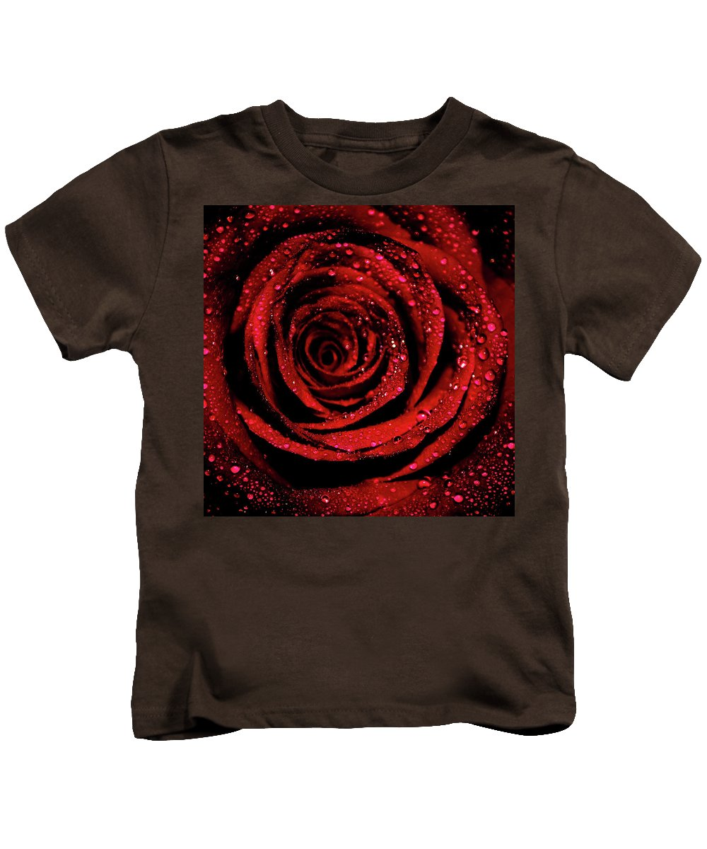 Rose Kids T-Shirt featuring the photograph Rose Dew by Lee Pirie