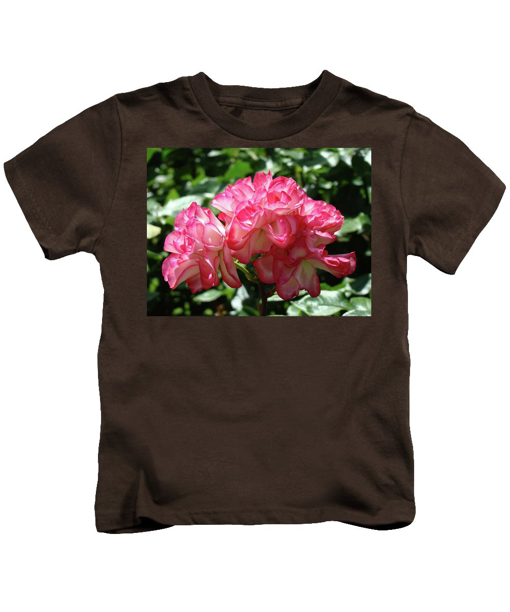 Rose Kids T-Shirt featuring the photograph Roses Bouquet Pink White Rose Flowers 2 Rose Garden Baslee Troutman by Baslee Troutman