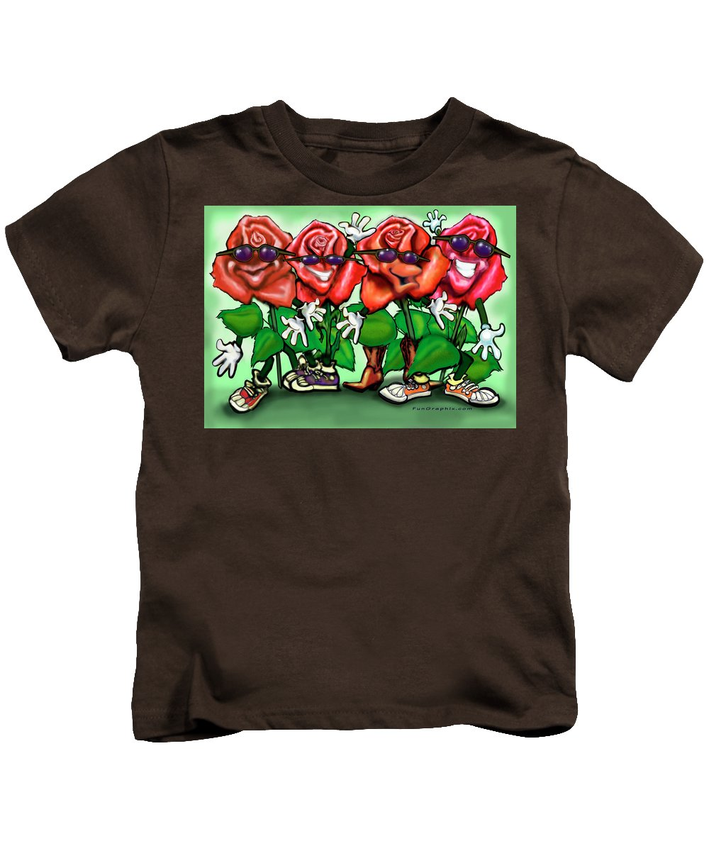 Rose Kids T-Shirt featuring the painting Roses Party by Kevin Middleton
