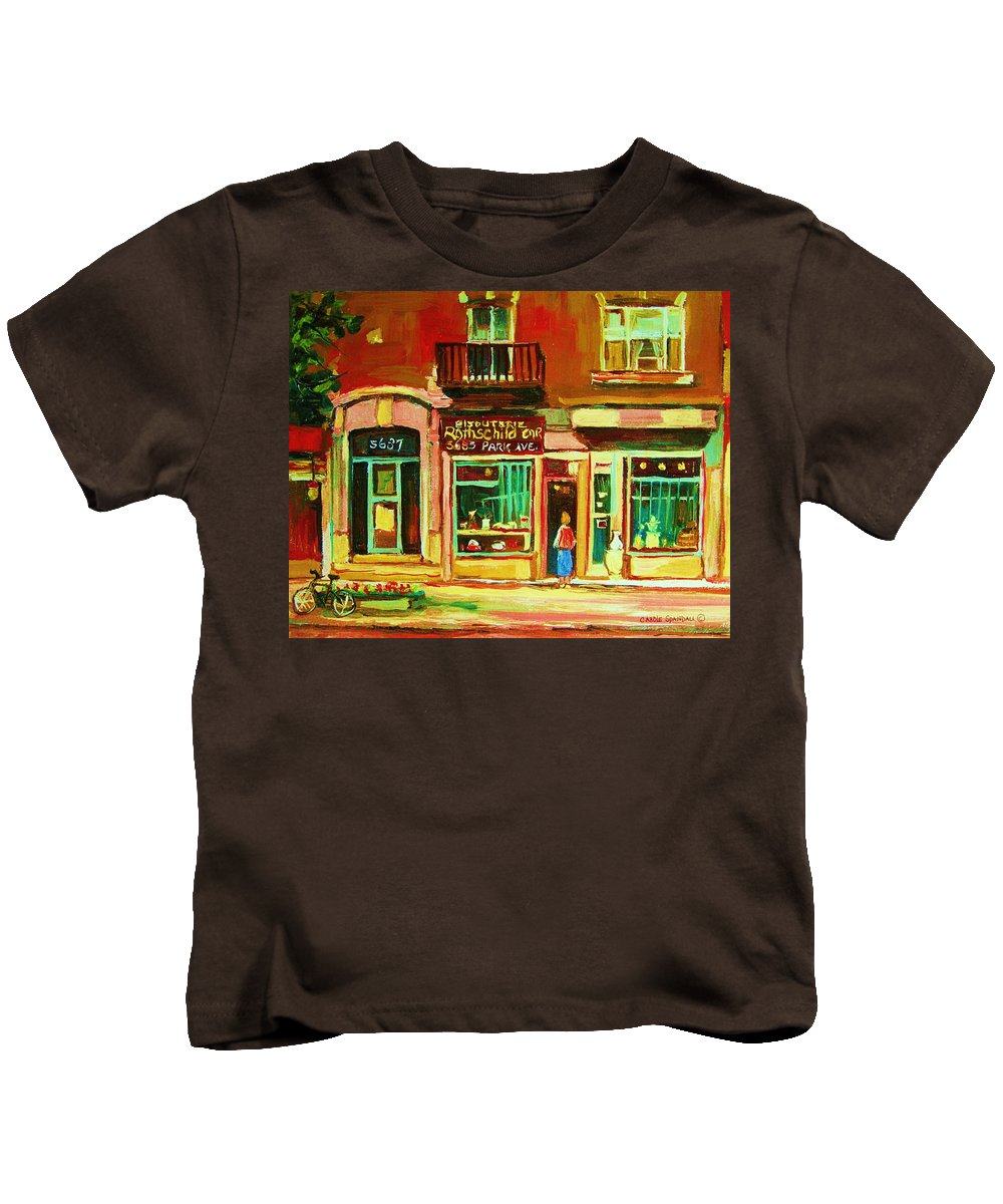 Montreal Kids T-Shirt featuring the painting Rothchilds Jewellers On Park Avenue by Carole Spandau
