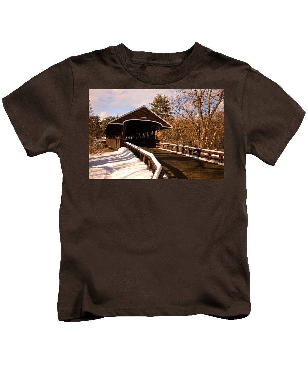 new England Covered Bridges Kids T-Shirt featuring the photograph Rowell Bridge by Paul Mangold