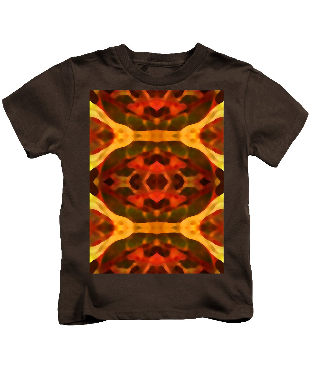 Abstract Painting Kids T-Shirt featuring the digital art Ruby Crystal Pattern by Amy Vangsgard