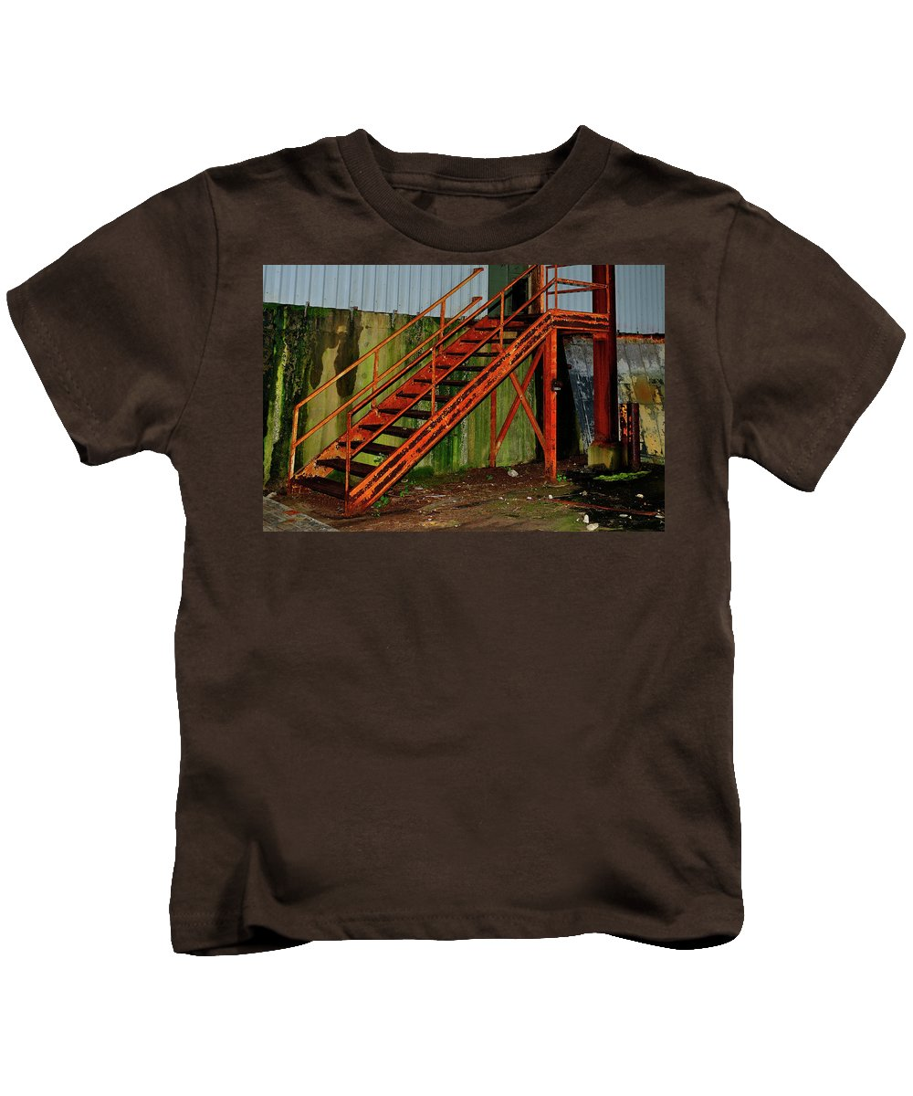 Staircase Kids T-Shirt featuring the photograph Rust And Mold by Betty LaRue