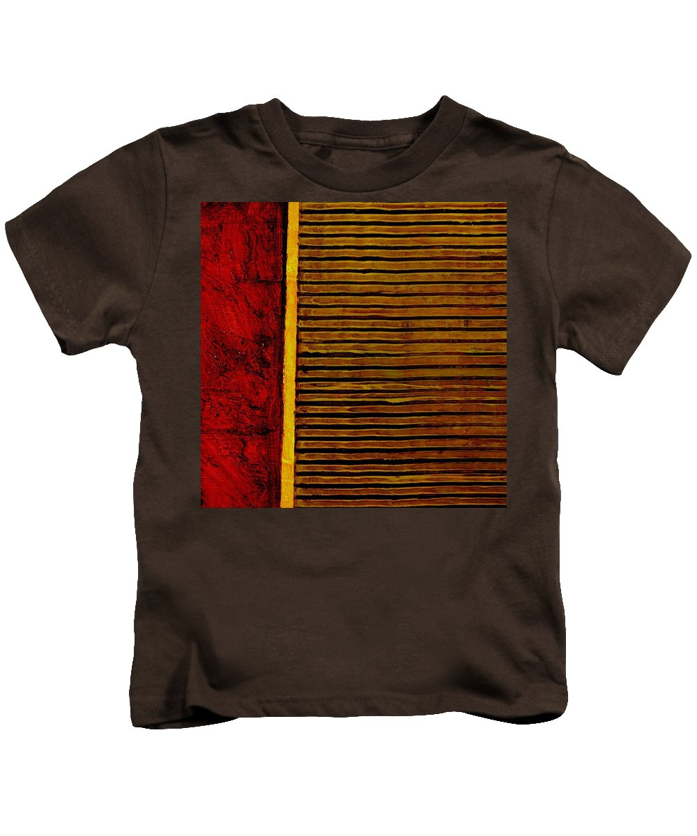 Rustic Kids T-Shirt featuring the painting Rustic Abstract One by Michelle Calkins