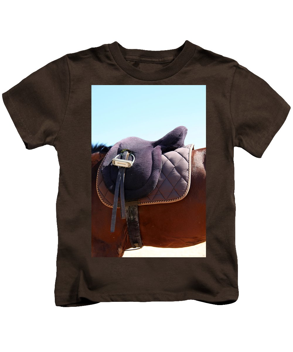 Jezcself Kids T-Shirt featuring the photograph Saddle In by Jez C Self