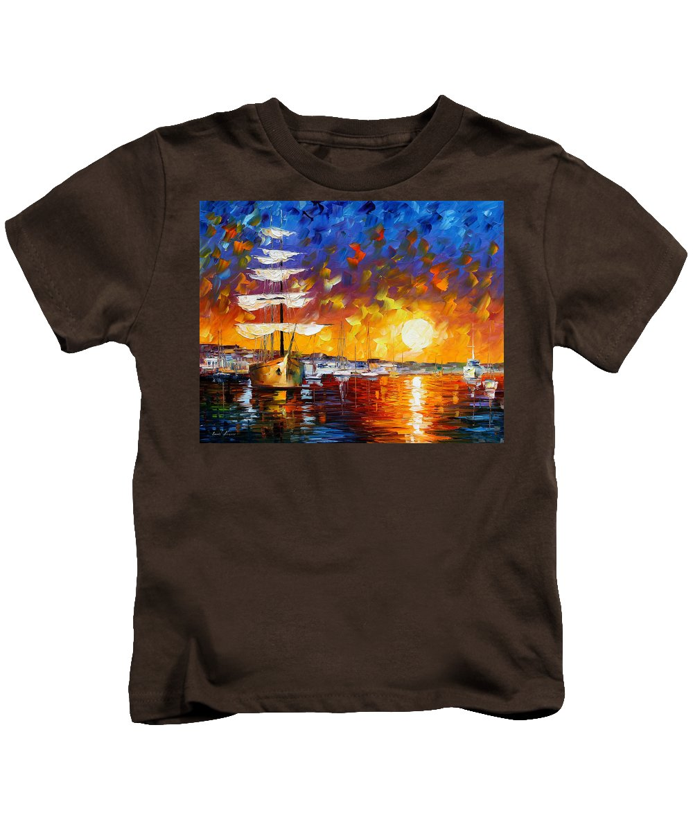 Boat Kids T-Shirt featuring the painting Sailer by Leonid Afremov