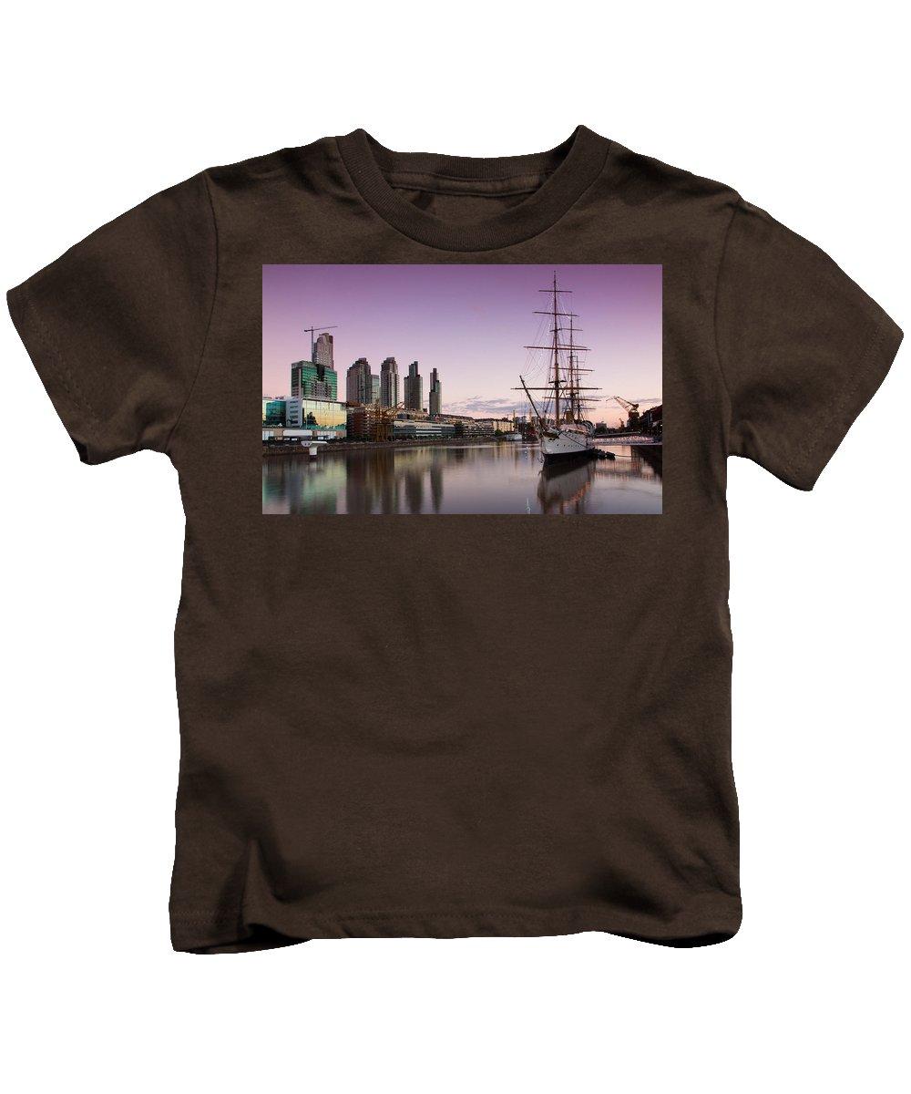 Sailing Ship Kids T-Shirt featuring the digital art Sailing Ship by Dorothy Binder