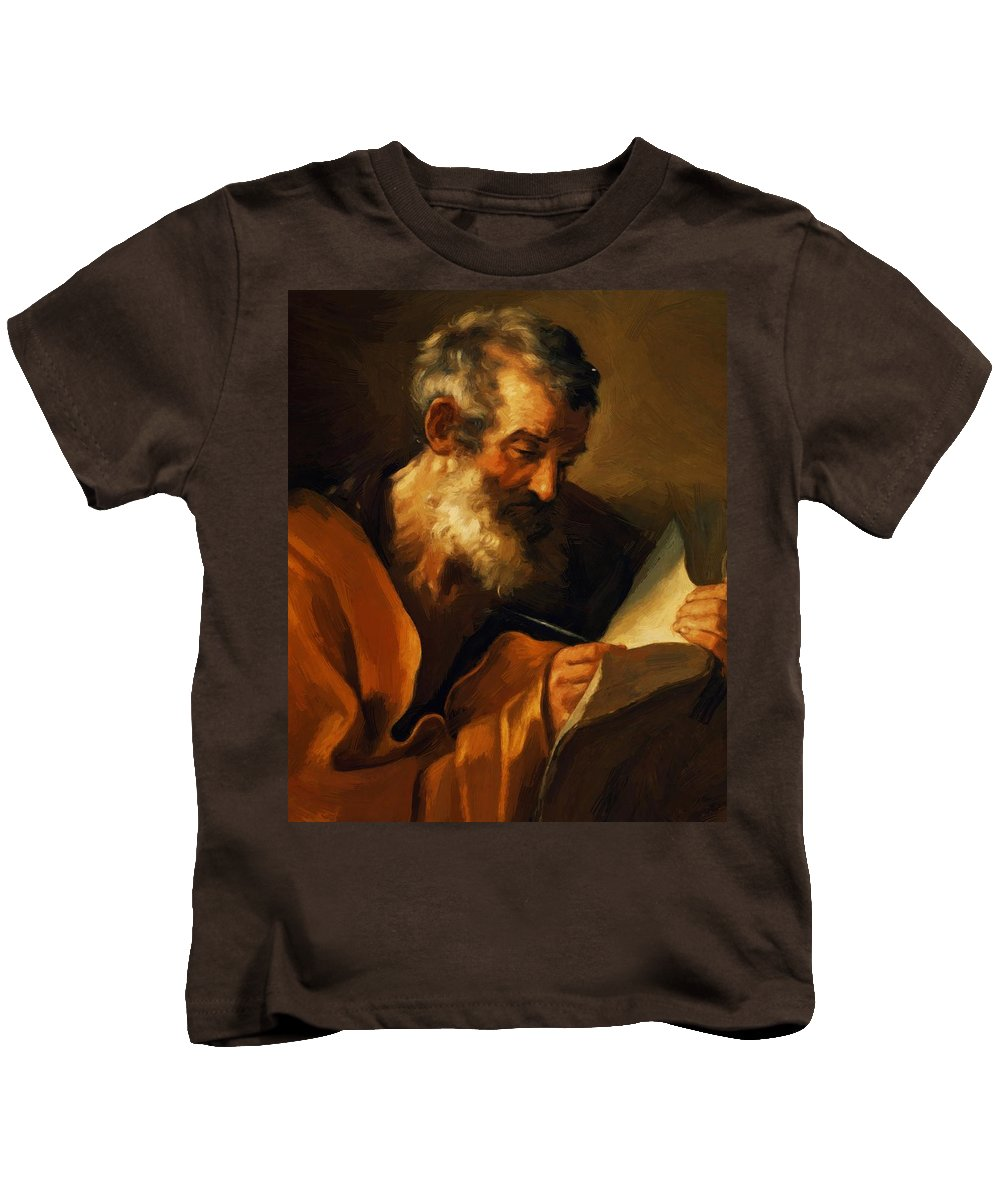 Saint Kids T-Shirt featuring the painting Saint Mark 1621 by Reni Guido