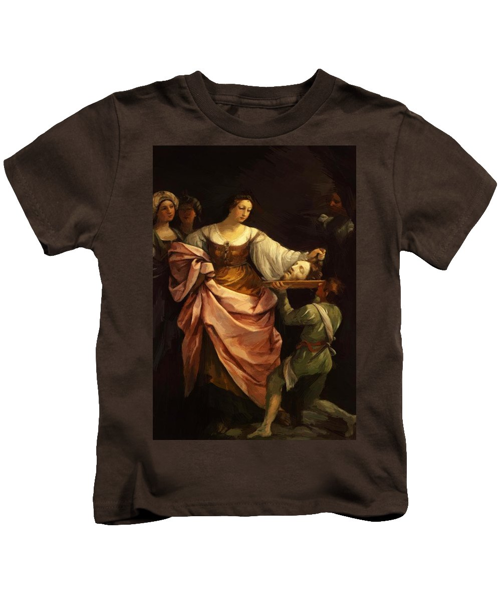 Salome Kids T-Shirt featuring the painting Salome With The Head Of St John Baptist 1640 by Reni Guido